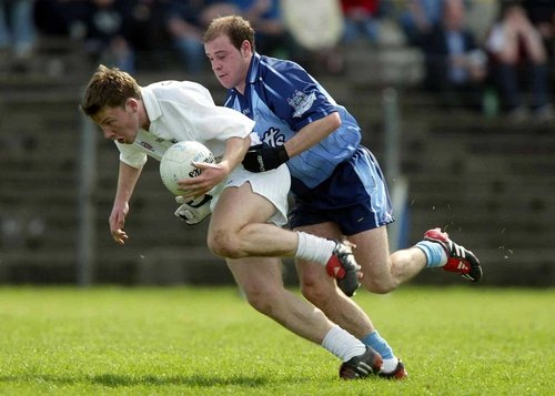 Kildare's Barry McCormack (left) and Dulbin's Barry Lyons in action during today's Leinster Under-21 Football final.