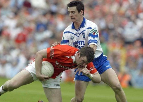 Ronan Clarke of Armagh and Gary McQuaid of Monaghan