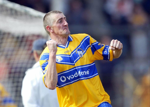 Clare's Denis Russell celebrates scoring his second half goal at Cusack Park today