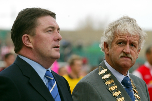 Fran Rooney (left): finally bowed to pressure to quit the FAI. The association's president, Milo Corcoran (right), was one of those who had opposed Rooney's tenure