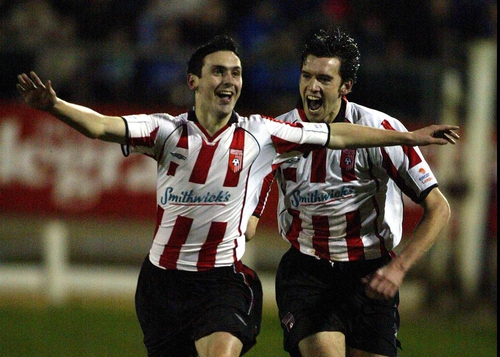 Derry City's Mark Farren celebrates one of the goals that saw him named as the eircom League Player of the Year