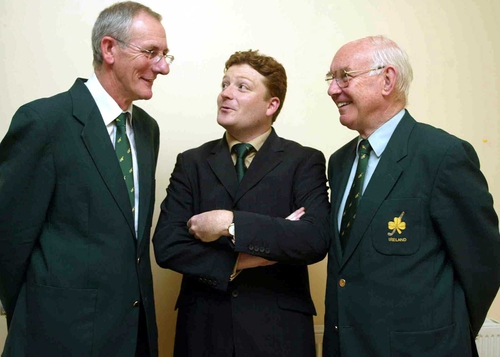 Paul Varian (centre), pictured with John Denis, the chairman of the IHA's Management Committee (left), and John Smyth, the President of the IHA (right)