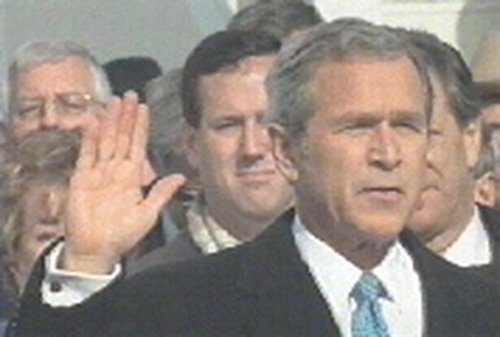 President George W Bush - Says troops will leave Iraq if asked by elected officials