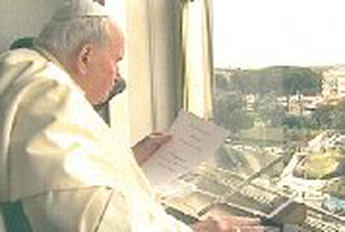 Pope John Paul II - Speaks to pilgrims from hospital window