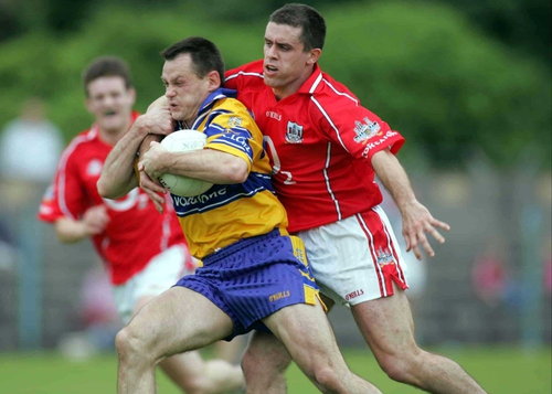 Martin Cronin (r) tangles with Odran O'Dwyer prior to the Corkman's sending-off