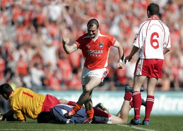 Armagh's Steven McDonnell finds the net in the original encounter