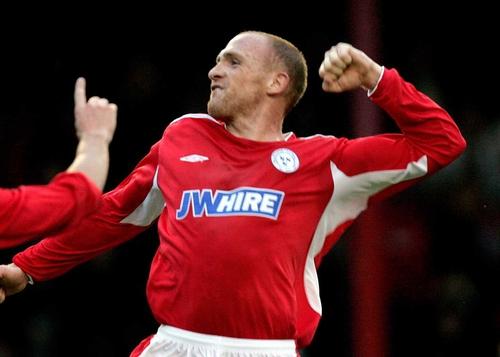 Glen Crowe celebrates Shelbourne's third goal after his stunning strike tonight