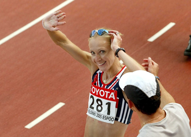 Paula Radcliffe celebrates after her win in Helsinki