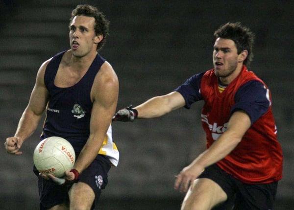 Australia's Nick Davis (left) and Heath Black prepare for today's test decider at the Telstra Dome in Melbourne