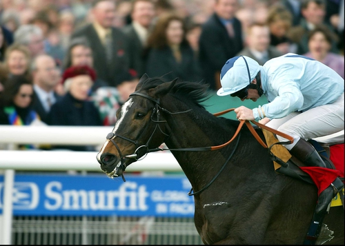 Dean Gallagher steers Hors La Loi III home in the 2002 Smurfit Champion Hurdle