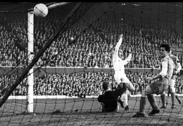 Alfredo Di Stefano scores Real Madrid's second goal of the 1960 European Cup final against Eintracht Frankfurt