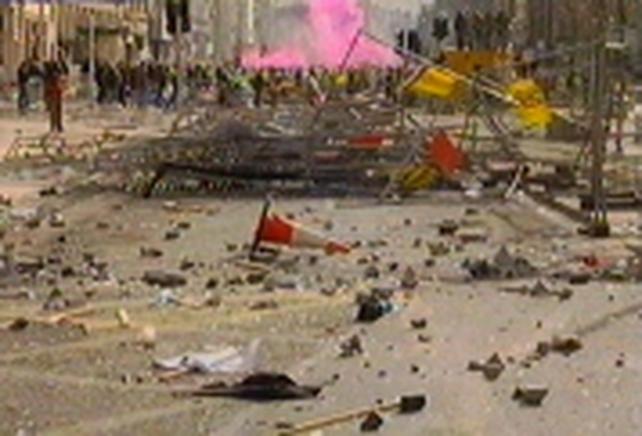 Dublin - Gardaí and protestors clash