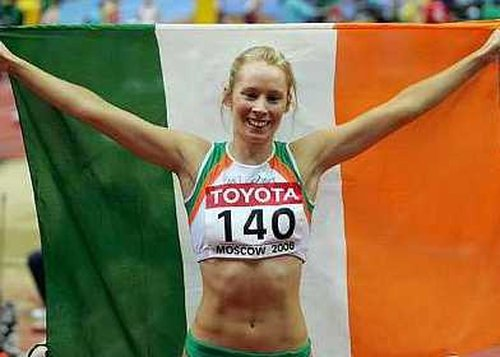 Cork woman Derval O'Rourke celebrates capturing her gold medal in Moscow