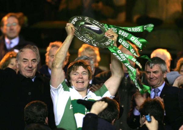 A record Six Nations Irish television audience watched Brian O'Driscoll lead Ireland to victory
