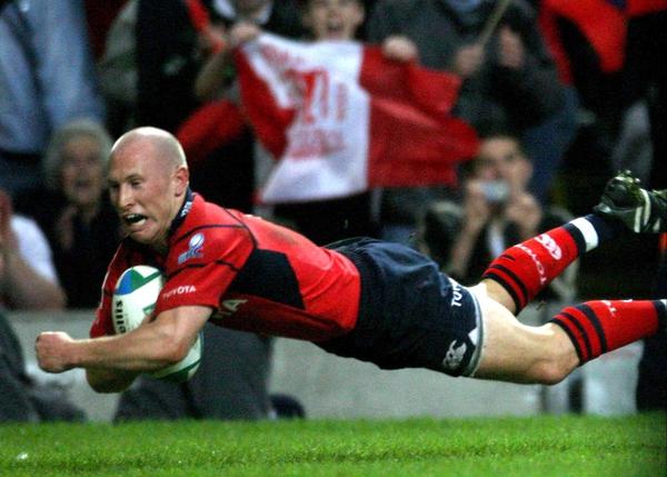 Man of the match Peter Stringer caps his audacious try and seals victory for Munster today