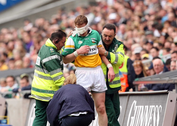Offaly's Paschal Kellaghan receives attention at Croke Park last Sunday