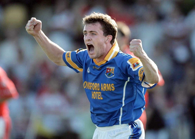 Longford's David Barden celebrates at the final whistle