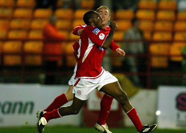 Joseph Ndo celebrates sending his side into the eircom League Cup final