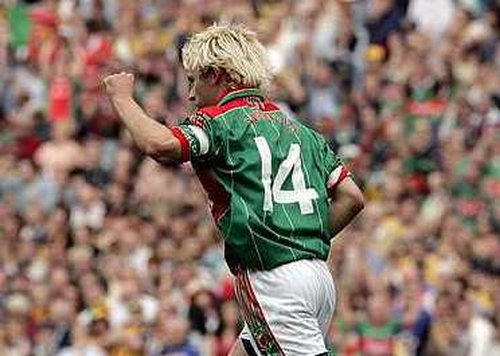 Mayo's Conor Mortimer celebrates scoring the late equalising point in this afternoon's entertaining clash at Croke Park