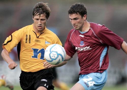 Shane Barrett in action for Drogheda this evening