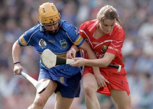 Emily Hayden of Tipperary (left) and Briege Corkery of Cork tussle at Croke Park