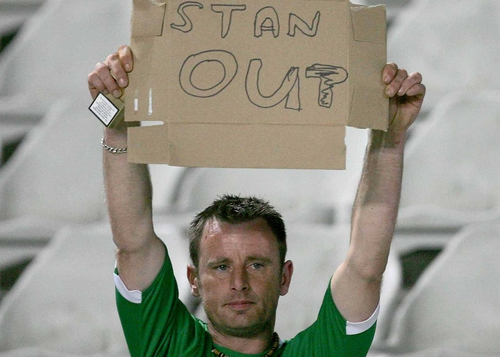 A fan displays his feelings at today's result