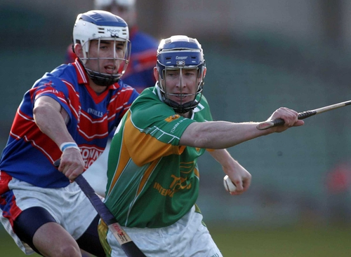 Stephen Cronin of Erin's Own tackles Paddy O'Brien of Toomevara in action in Sunday's Munster Club final