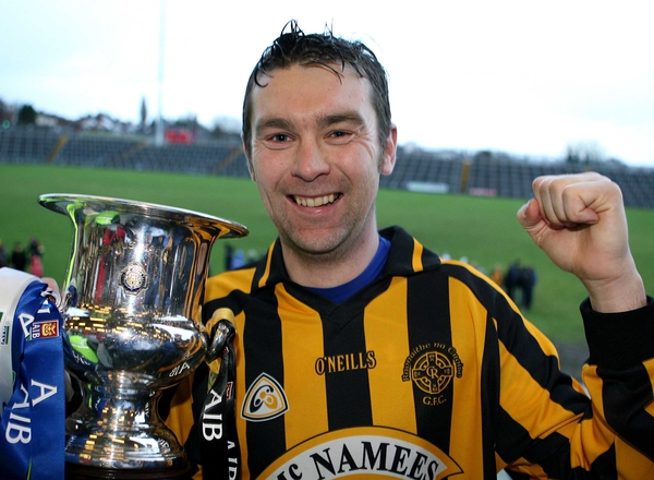 Crossmaglen's Oisin McConville with the cup as they celebrate winning the Ulster Club Championship against Ballinderry