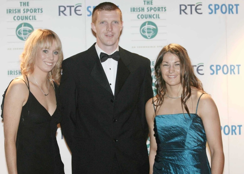 Henry Shefflin with fellow nominees Derval O'Rourke and Katie Taylor
