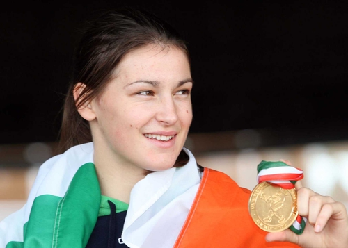 Katie Taylor received a heroine's welcome at the National Stadium last night