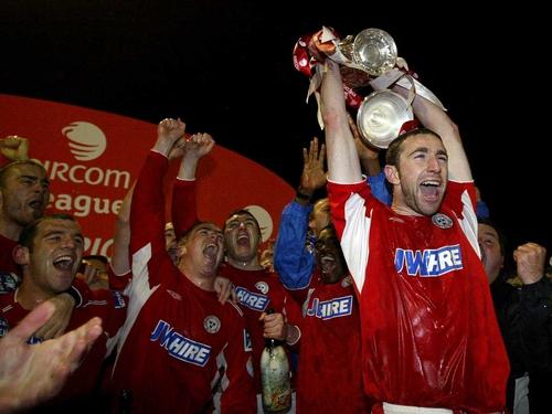 Former Shelbourne captain Owen Heary celebrates last season's title success