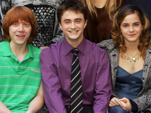 Emma Watson with co-stars Rupert Grint and Daniel Radcliffe