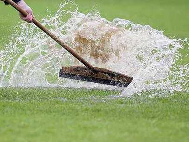 There were testing conditions at Casement Park today for Antrim v Down