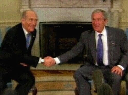 Olmert & Bush - Backing for Abbas govt