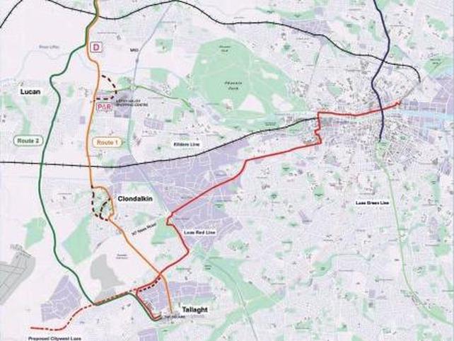 Metro West - Orange route chosen - Click to enlarge