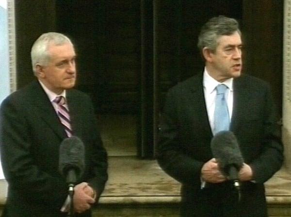 Bertie Ahern & Gordon Brown - First talks since Blair departure