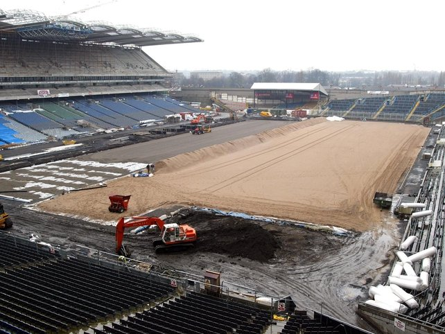 A new pitch being laid in March 2002.