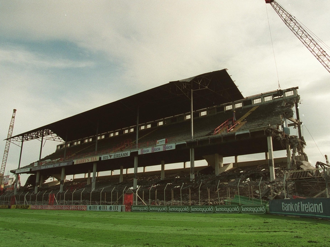 Demolition of the Cusack Stand begins in 1993.