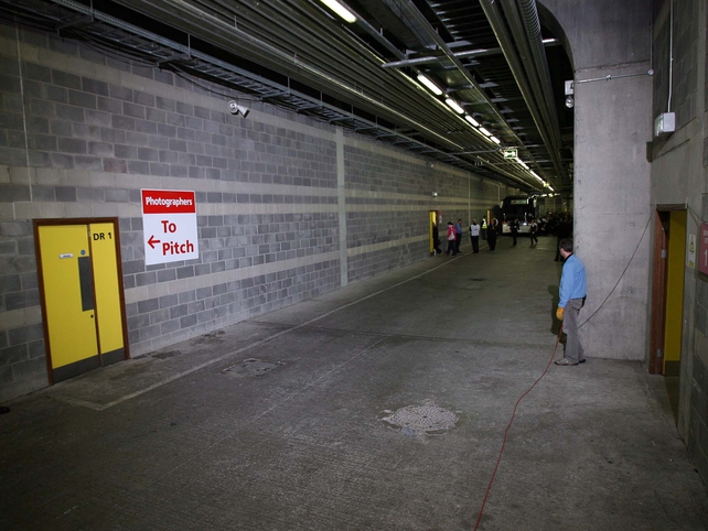 A view of the entrance to the players' dressing rooms, September 2006.