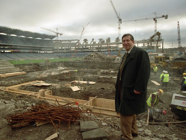 17 January 2000. Liam Mulvihill, Director General of the GAA, watches as the last part of the Hogan Stand is knocked.