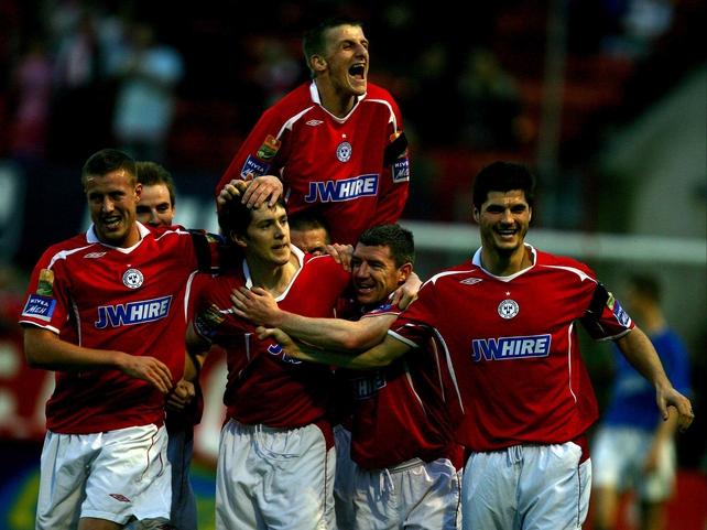 Shelbourne players celebrate Aidan Collins' goal