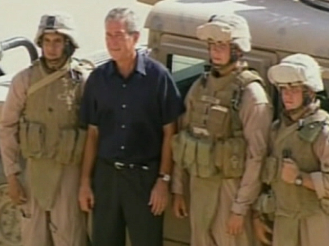 George W Bush - With troops on his recent visit to Iraq