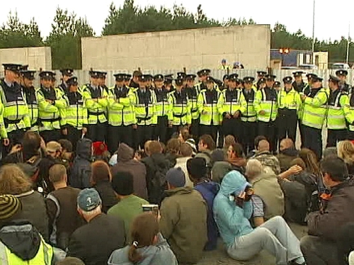 Protest - 150 people staged a sit in at the terminal site