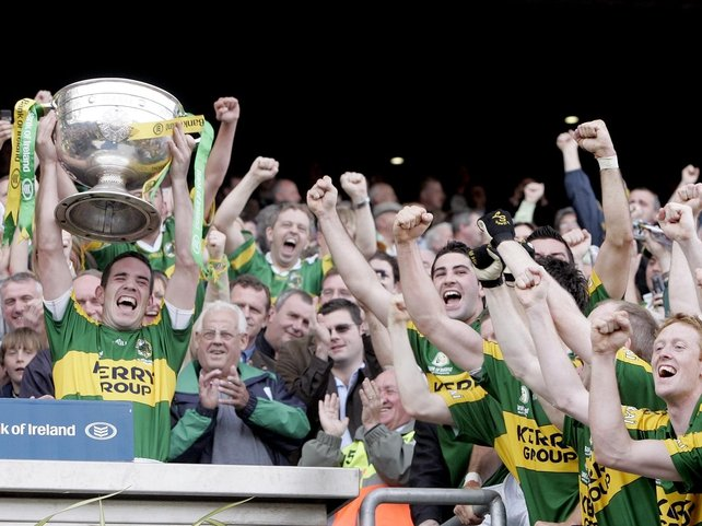 Kerry captain Declan O'Sullivan lifts the Sam Maguire Cup