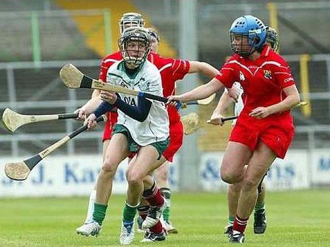 Eileen O'Brien of Limerick is pursued by Eimear O'Sullivan of Cork