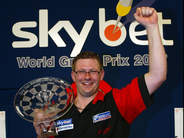 James Wade celebrates his Skybet World Grand Prix title victory