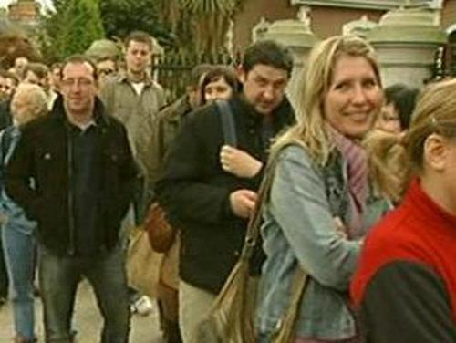 Voting - Poles queue to vote in Dublin