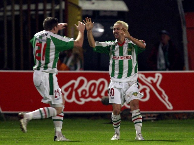 Liam Kearney and Denis Behan celebrate the game's opening goal
