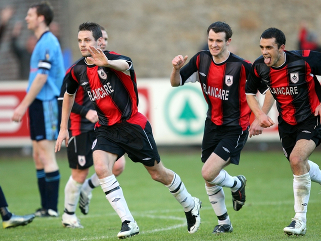 Robbie Martin celebrates the goal that puts his side into the FAI Cup final