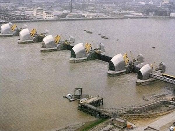 Thames Barrier - Raised ahead of surge
